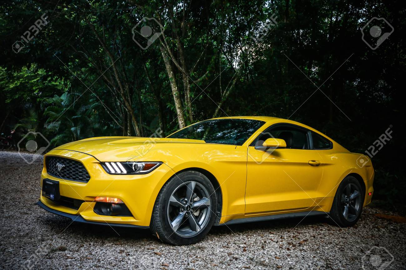 Palenque Mexico May 23 2017 Yellow Muscle Car Ford Mustang