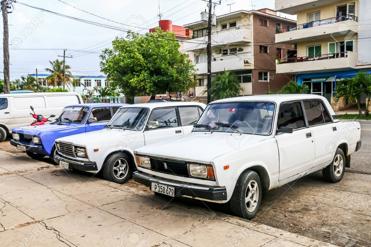 Havana, Cuba - June 6, 2017: Motor cars Lada 2105 and Lada 2107