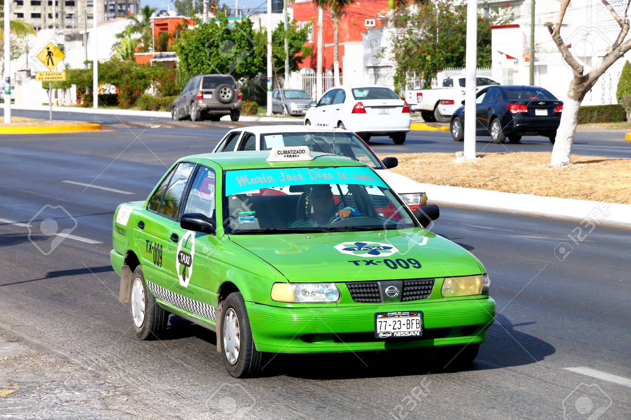 Campeche, Mexico - May 20, 2017: Taxi car Nissan Tsuru in the