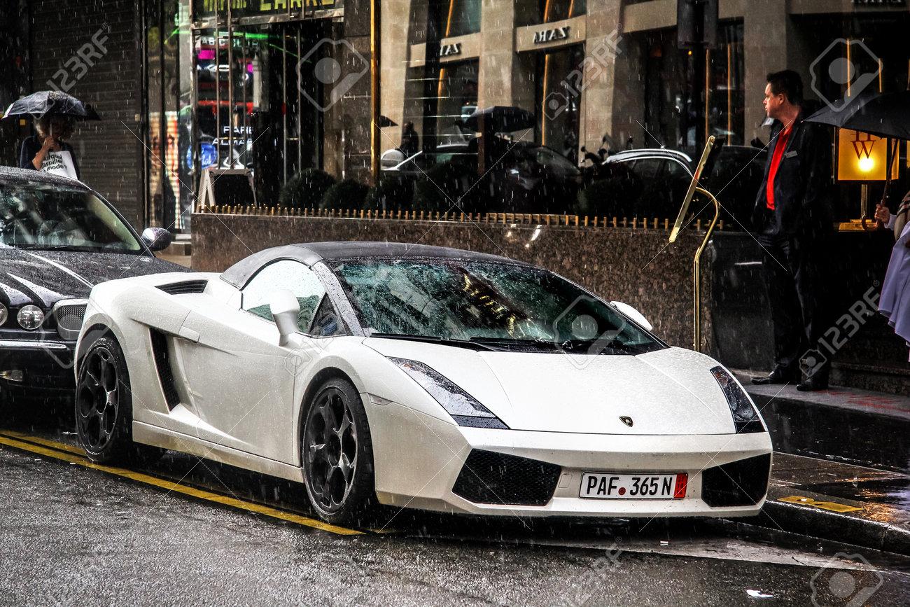 Paris France August 8 2014 Convertible Supercar Lamborghini