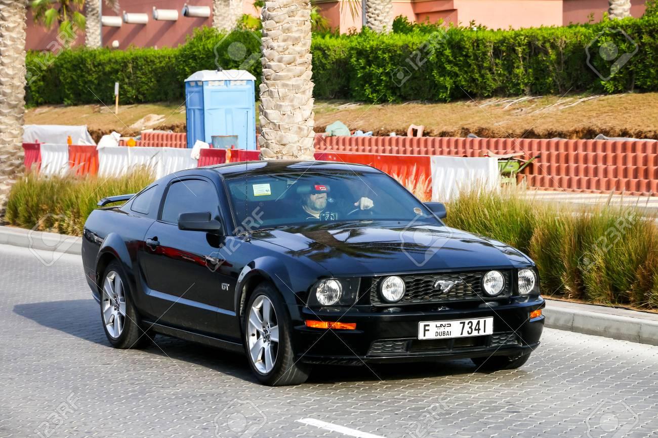 Dubai uae november 16 2018 black muscle car ford mustang
