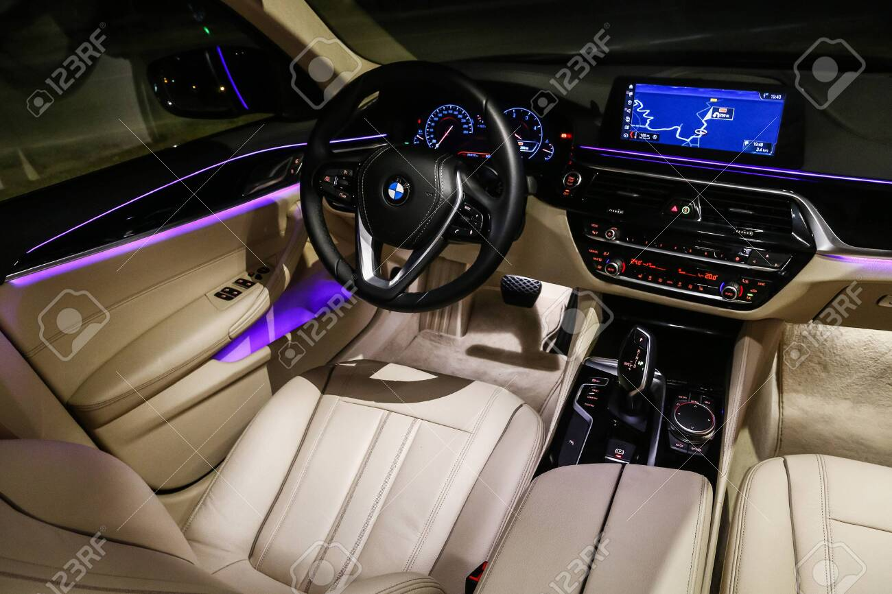 Catalonia, Spain - March 8, 2019: Interior of the luxury motor