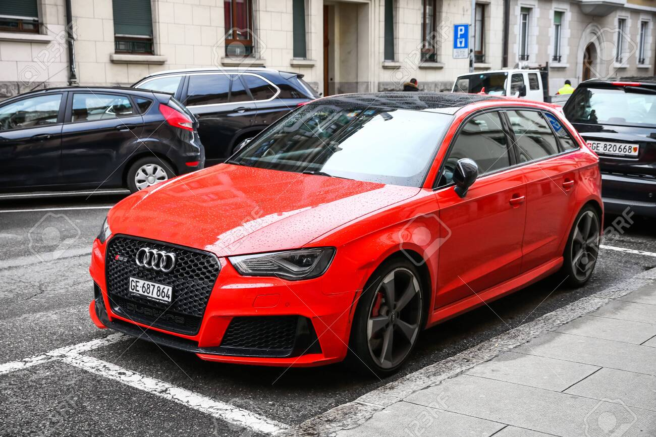 Geneva, Switzerland - March 13, 2019: Charged hatchback Audi