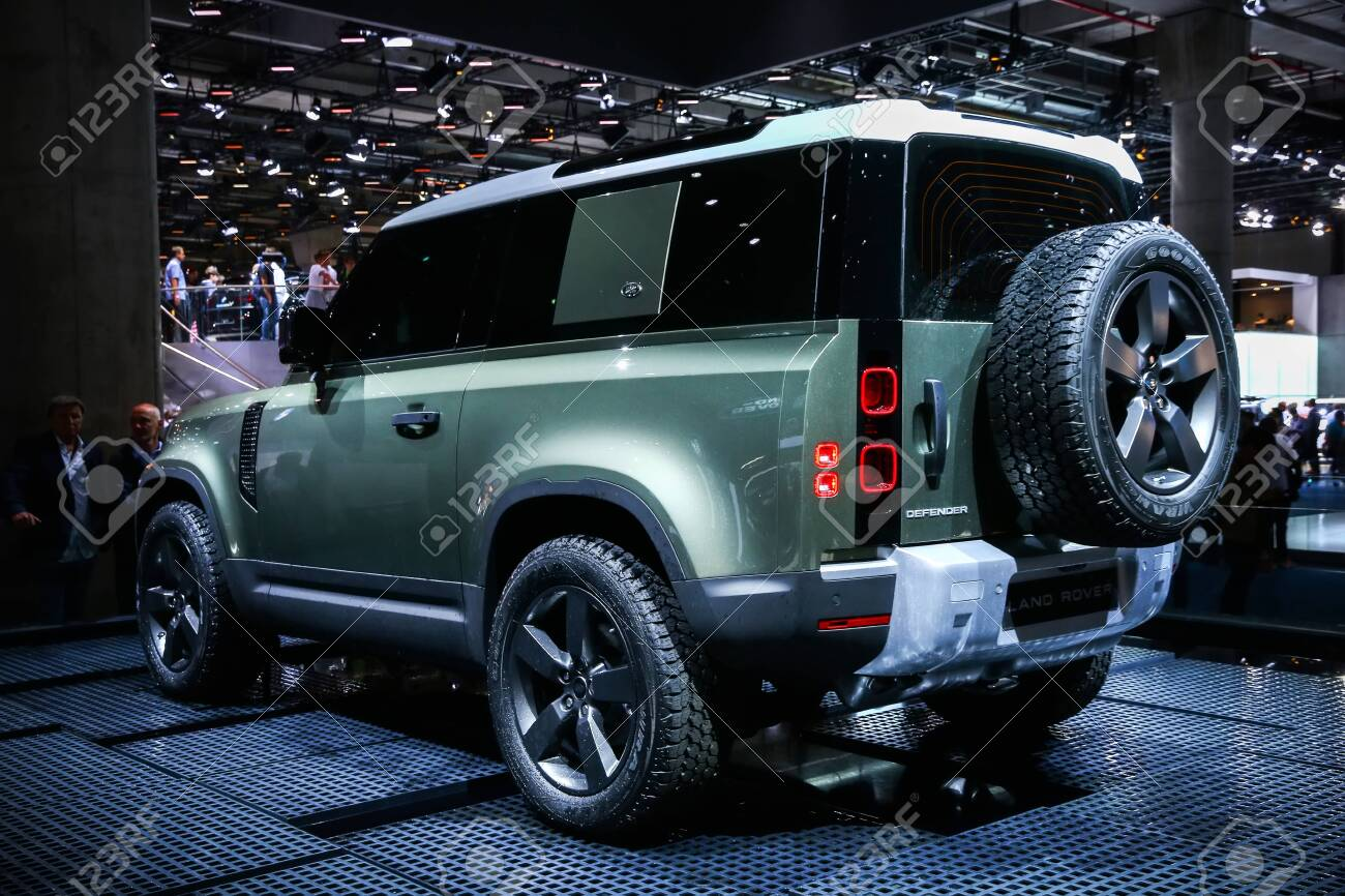 Frankfurt am Main, Germany - September 17, 2019: World premiere of the new generation of the Land Rover Defender at the Frankfurt Motor Show IAA 2019 (Internationale Automobil Ausstellung). - 142311080