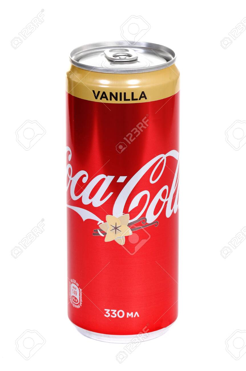 Novyy Urengoy, Russia - March 29, 2020: Aluminium can of the Coca-Cola Vanilla isolated over white background. - 143859368