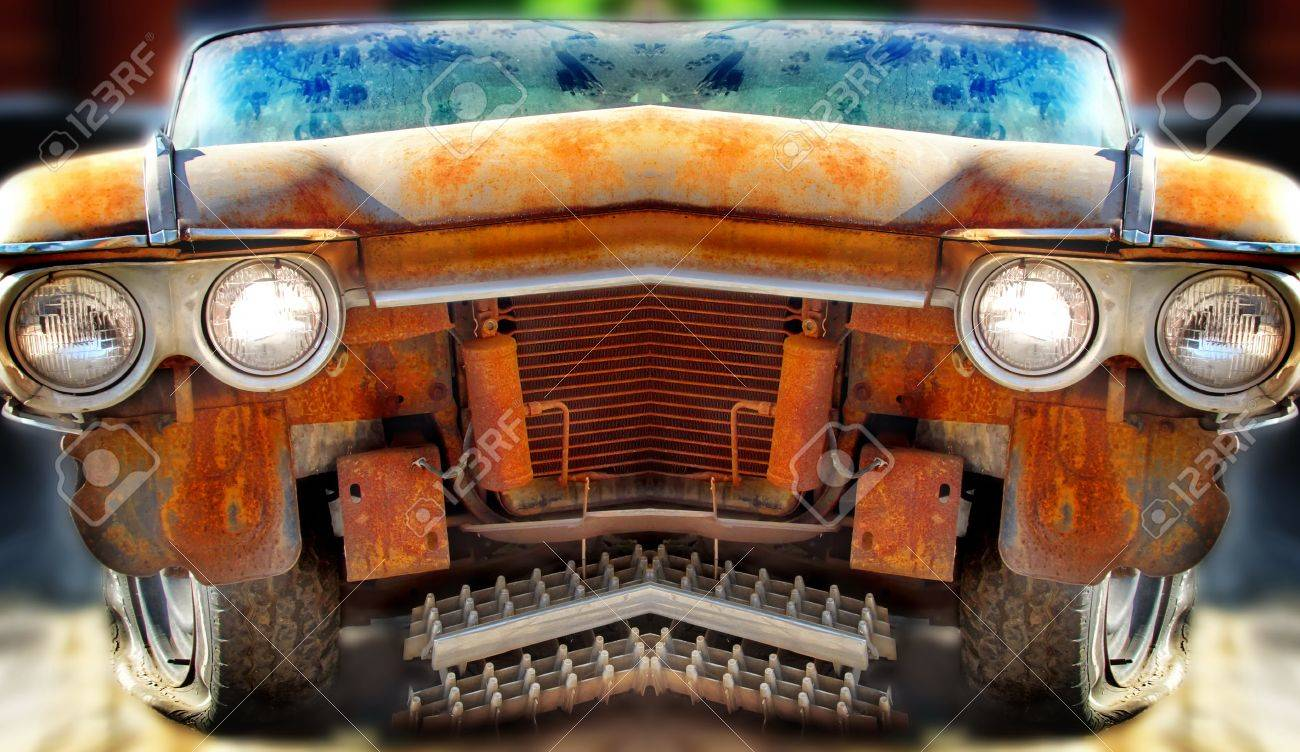 Old Junk Car Tilt-Shift And Mirror Effects Stock Photo, Picture And ...