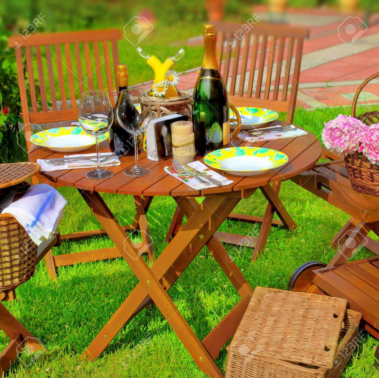 summer garden party outdoor dining scene tilt shift effect