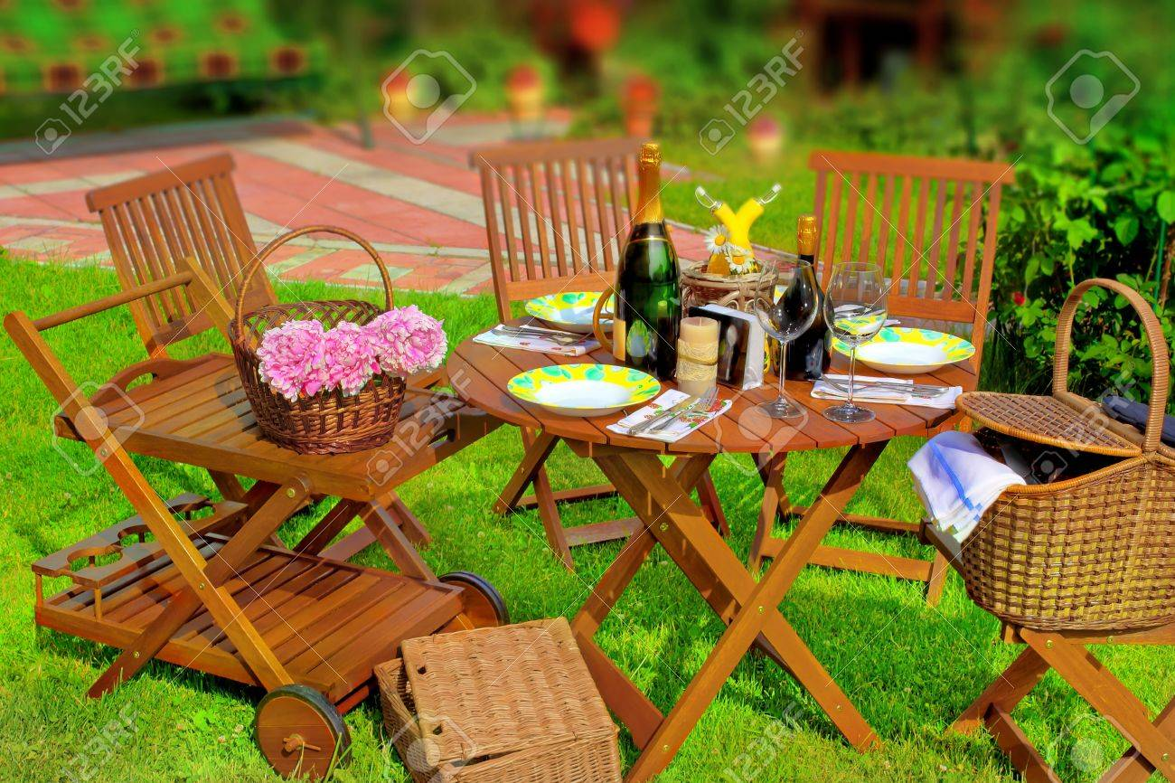 summer party or picnic scene in the backyard tilt shift effect