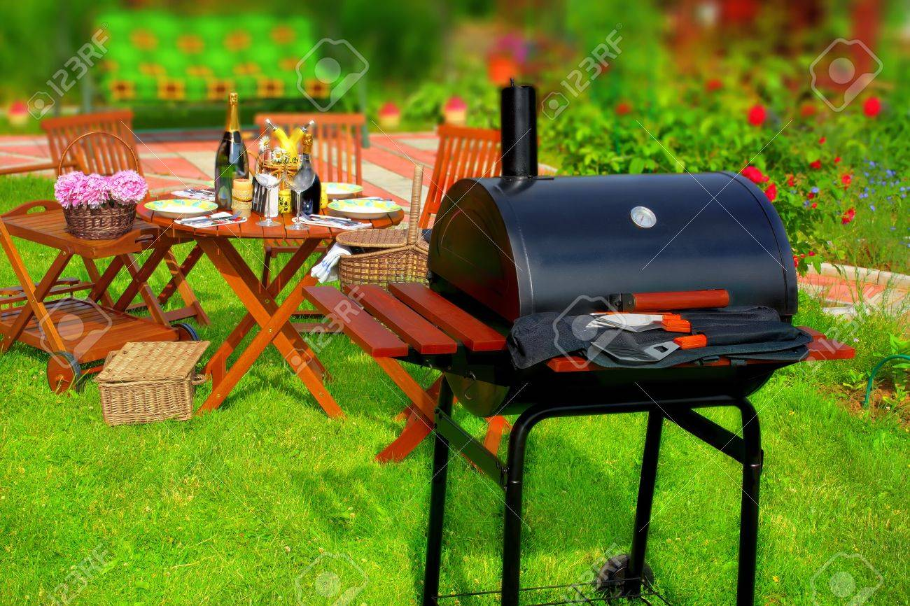 summer bbq party or picnic in backyard hdr tilt shift effect