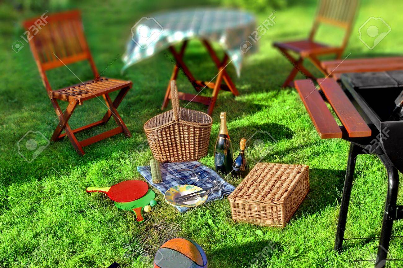 summer bbq party or picnic scene in backyard on lawn stock photo
