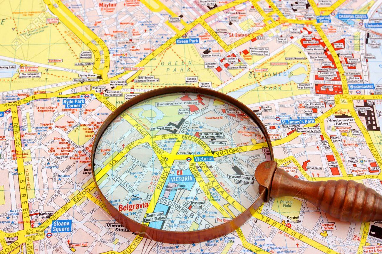 Victoria London Map.Map Of London And Magnifier Glass Palace Victoria Close Up