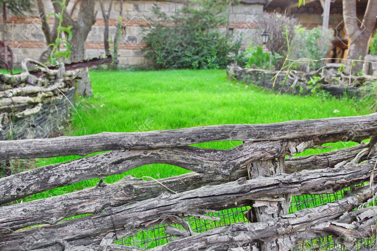 Old Split Log Fence In A Decorative Garden. Background For Text ...