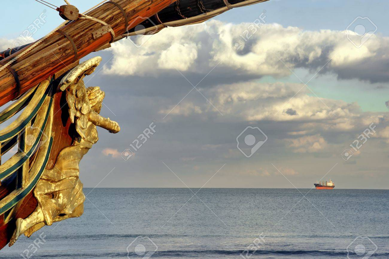 Female Wooden Carved Figurehead Found At The Prow Of Old Ship Modern Sea