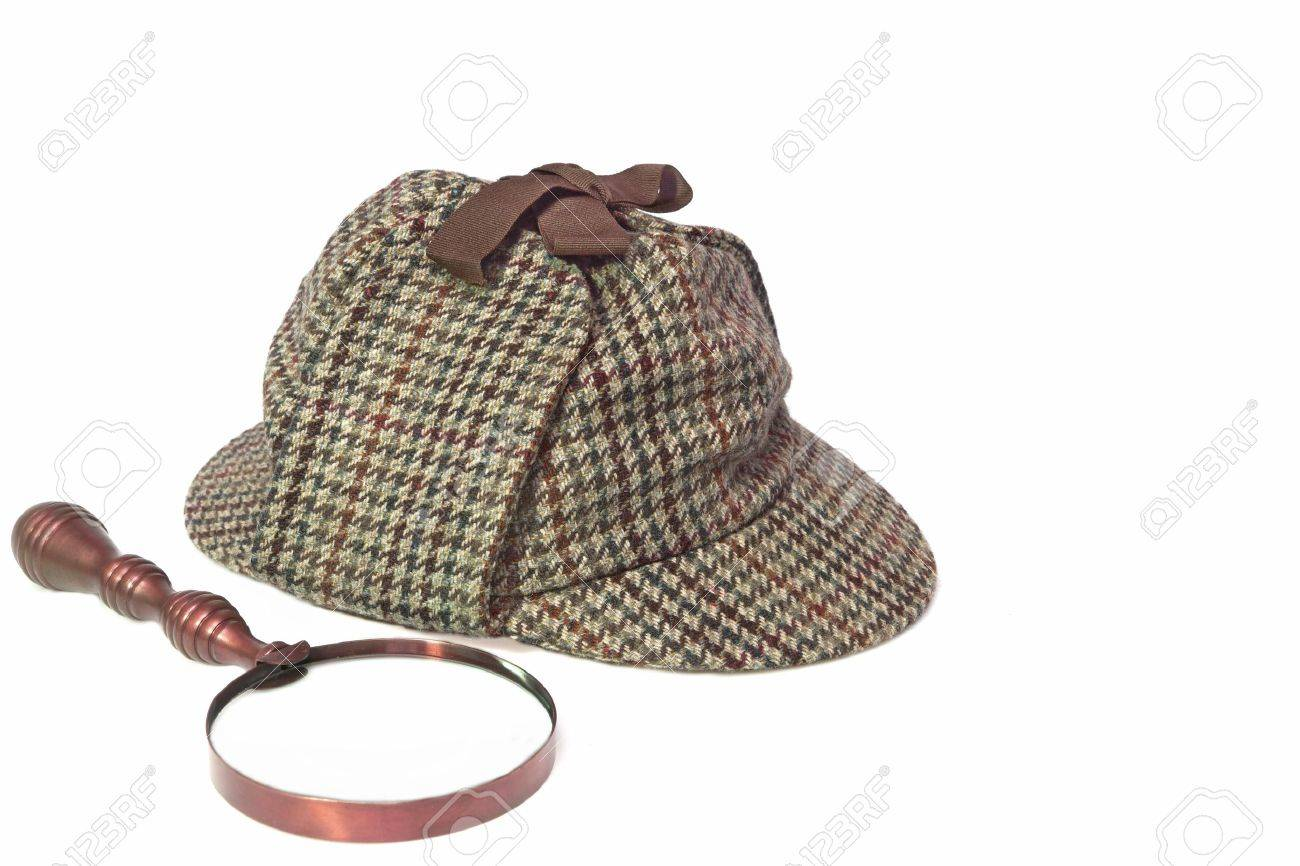 Hat or Deerstalker Hat and Retro Magnifying Glass Isolated on White Stock  Photo - 35565600 68e58822f92