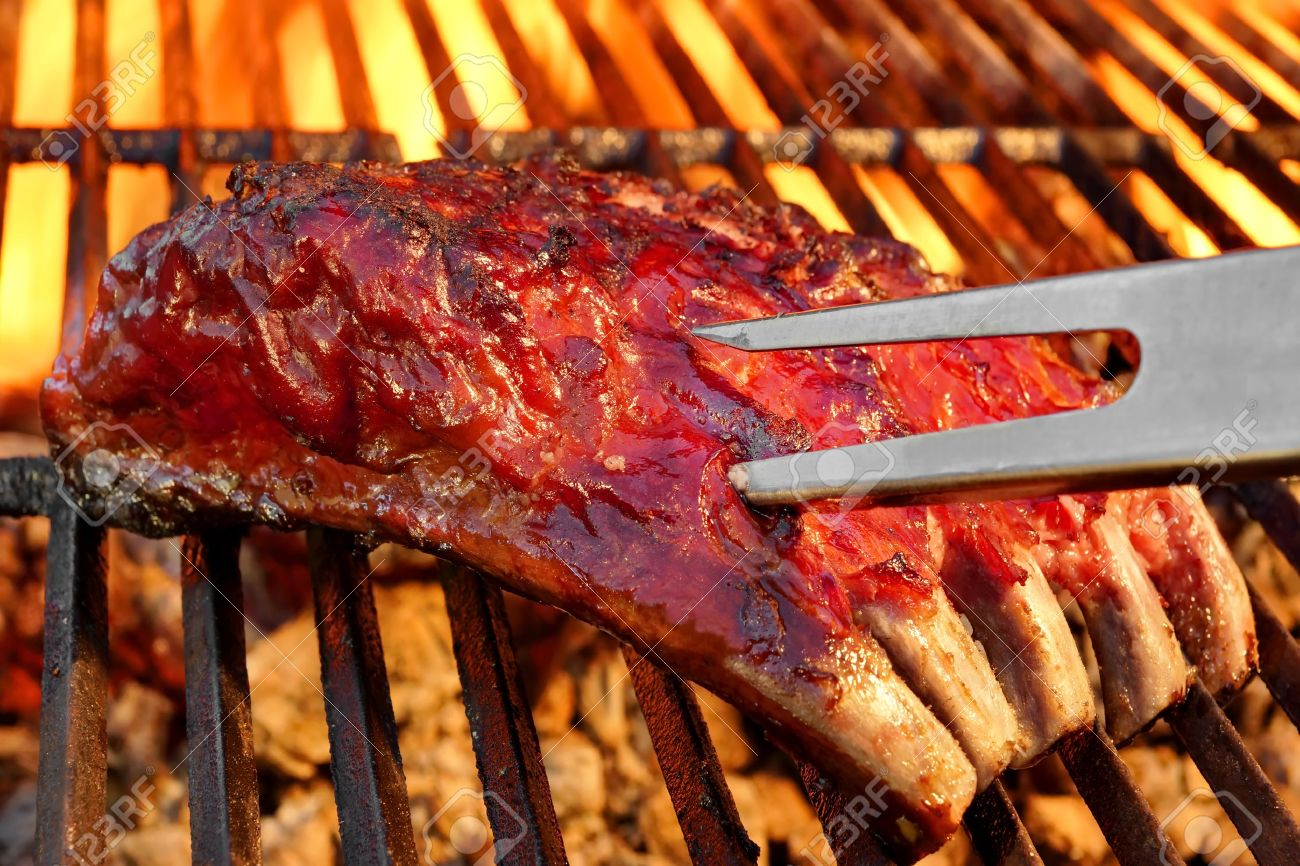 Grilled Bbq Tasty Spicy Smoked Marinated Pork Ribs At Summer Stock Photo Picture And Royalty Free Image Image 39123810