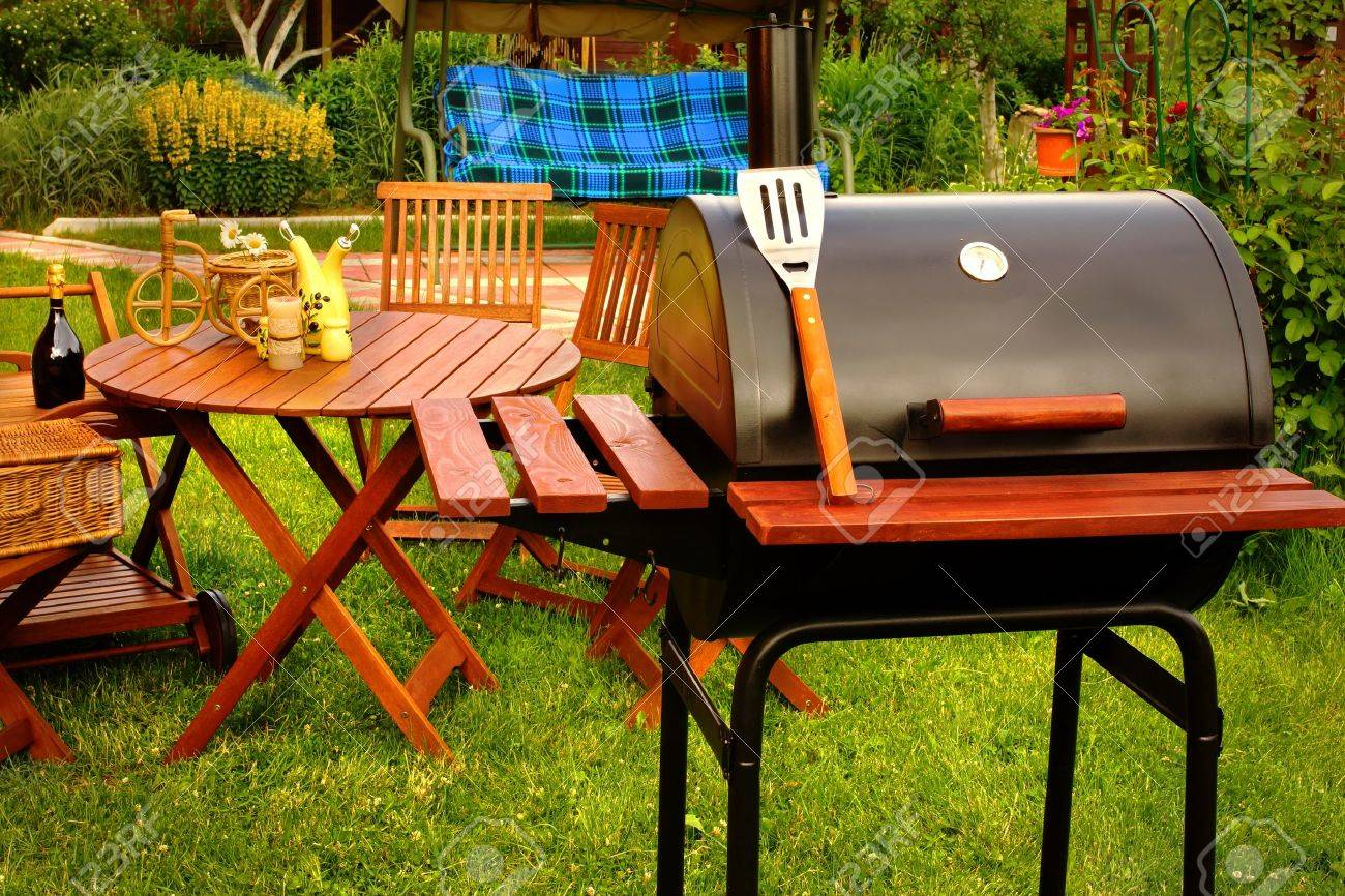 Outdoor summer weekend bbq grill party or family lunch or cookot food or picnic concept stock
