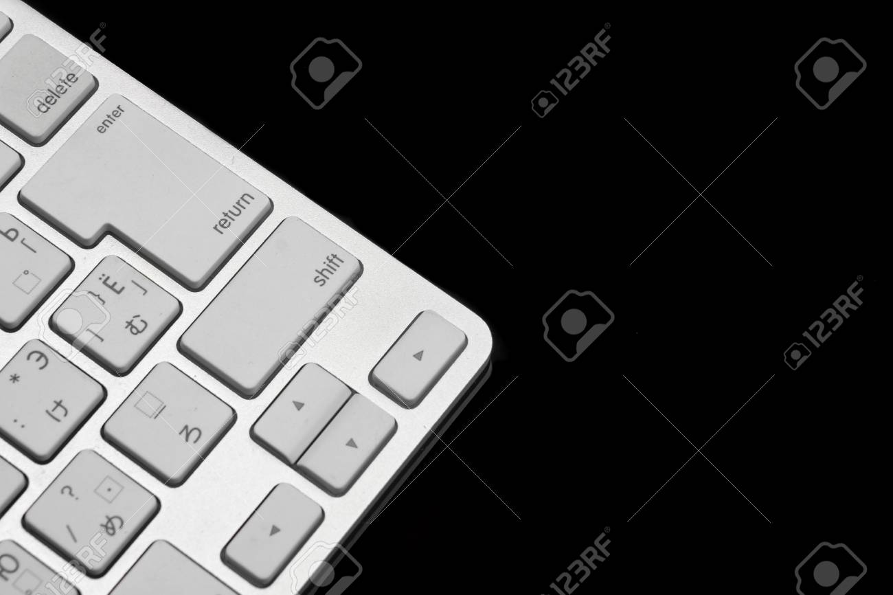 High Angle View Close Up Of Multilingual Wireless Keyboard Isolated