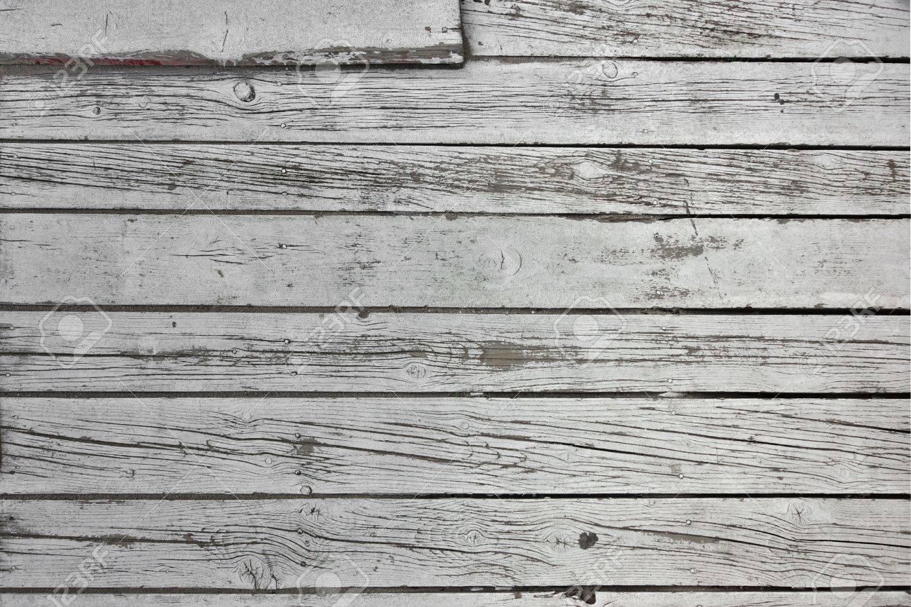 Shabby Cracked White Wood Beach Bar Patio Flooring Background