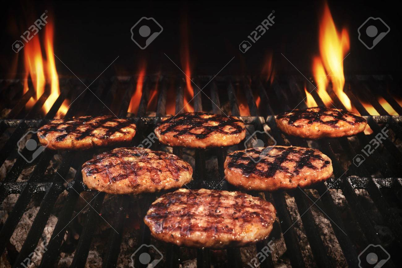 Bbq Grilled Burgers Patties On The Hot Flaming Charcoal Grill Stock Photo Picture And Royalty Free Image Image 55306772