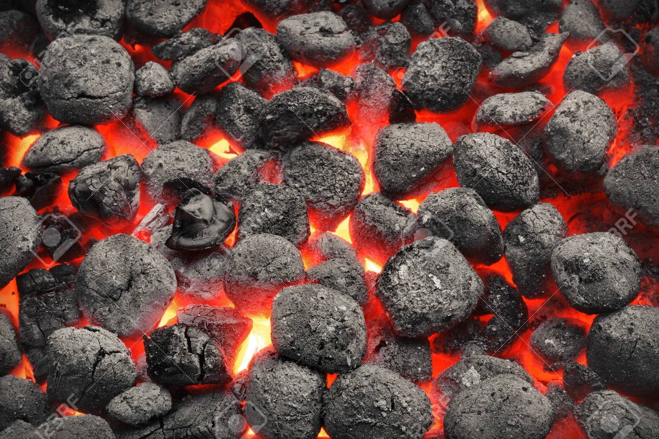 BBQ Grill Pit With Glowing And Flaming Hot Charcoal Briquettes,.. Stock  Photo, Picture And Royalty Free Image. Image 55305012.