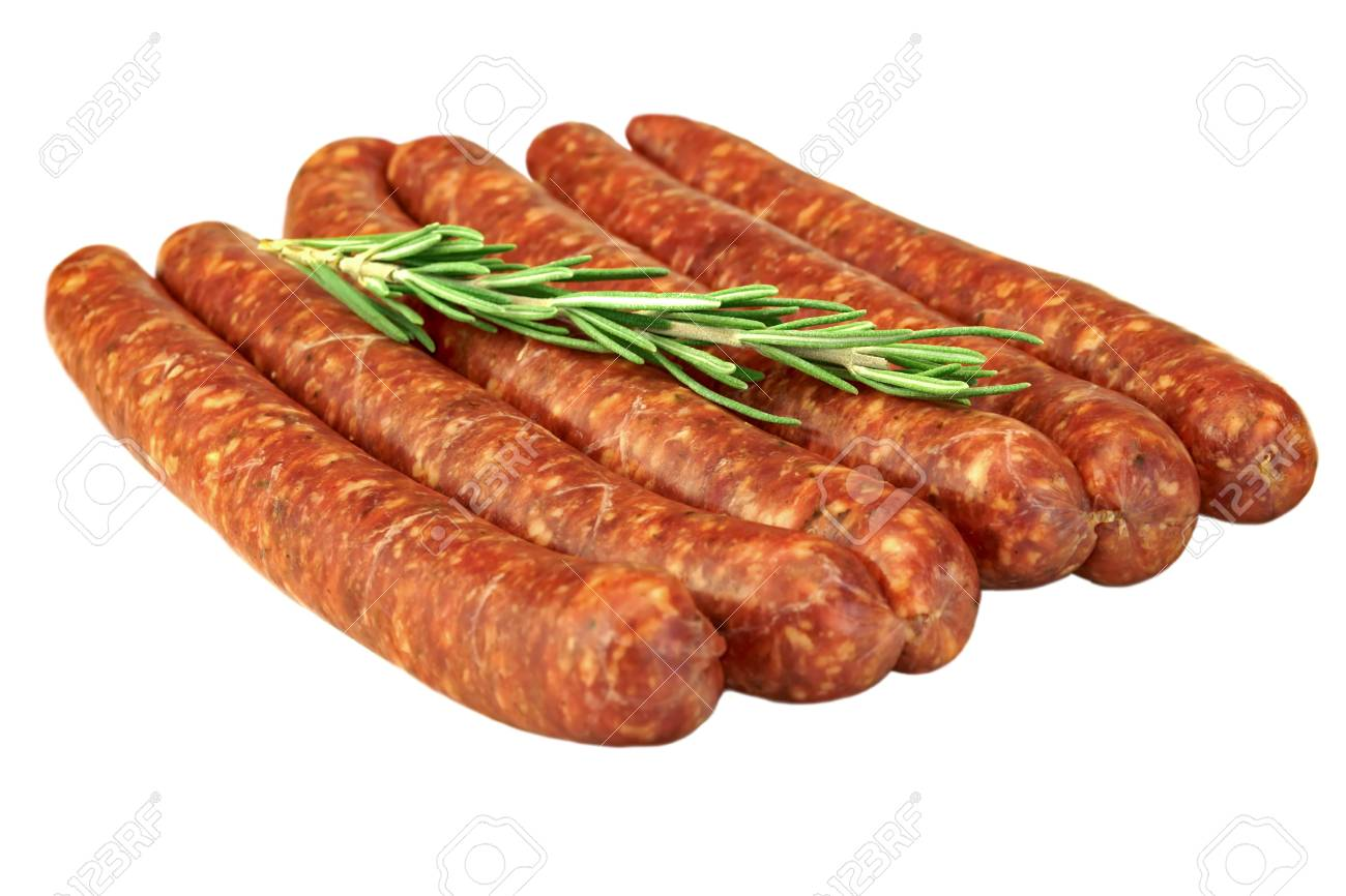 Sausages Made Of Chorizo Mince In Natural Casing From Intestines