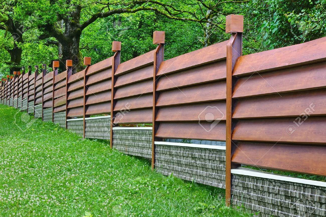 sheet metal privacy fence. Modern Fence Made From Metal Siding And Profile Sheet Like As Natural Wood Board Stock Photo Privacy W