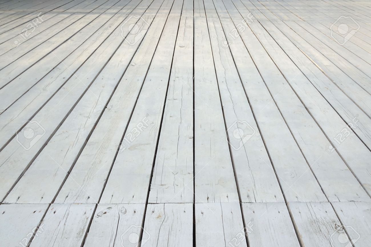 Outdoor Patio Or Veranda White Wooden Floor In Modern Vintage Style,  Perspective View, Background