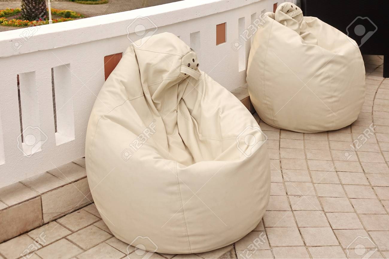 Enjoyable Two Outdoor Leather White Bean Bag Chairs Beanbag On The Balcony Cjindustries Chair Design For Home Cjindustriesco