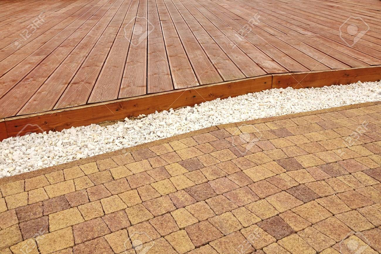 Perfect Backyard Dry Patio Or Terrace Surface In Perspective View. Composite Wood  Decking, Drain System