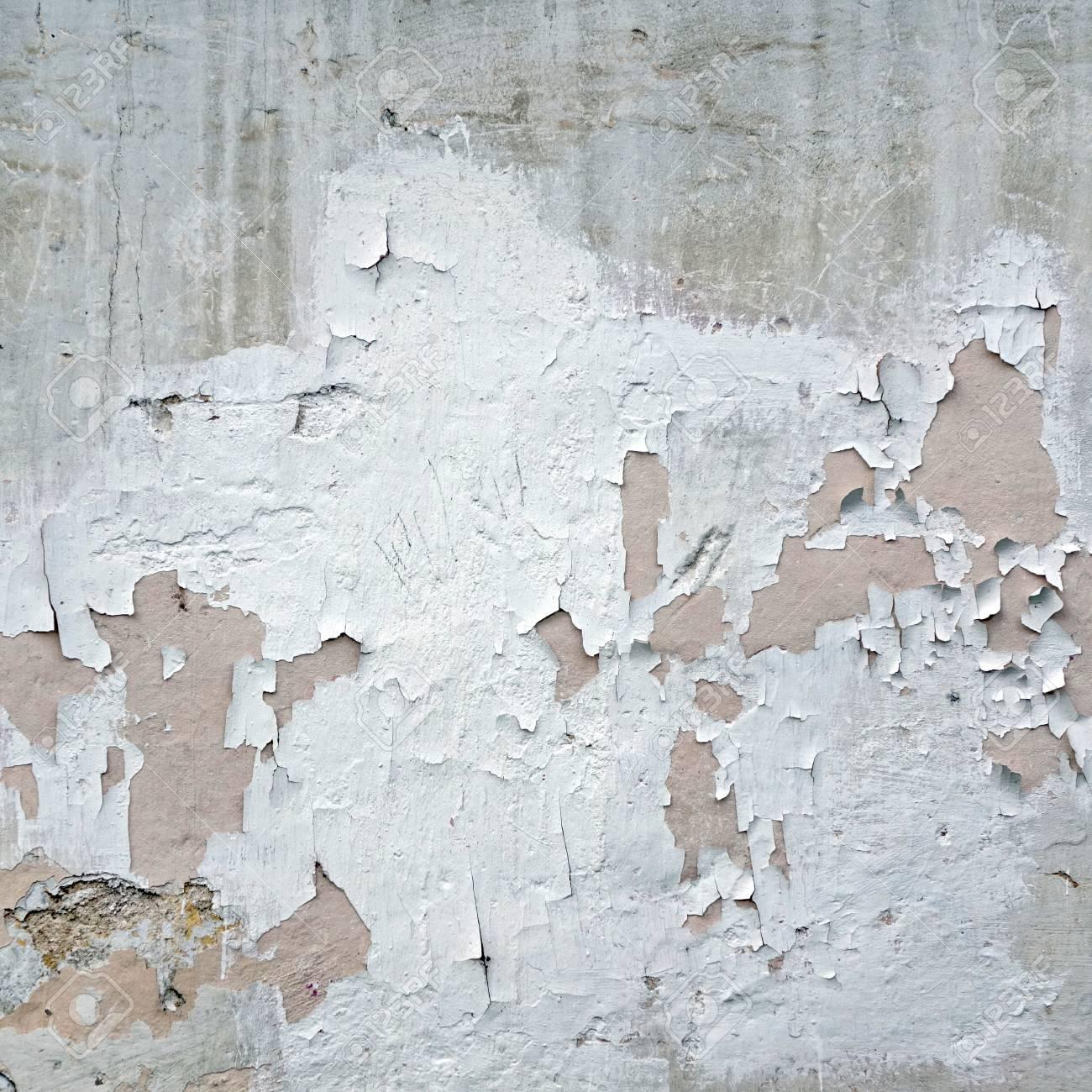 Antiguo Muro De Yeso Pelado Blanco Con Marco De Estructura Agrietada ...