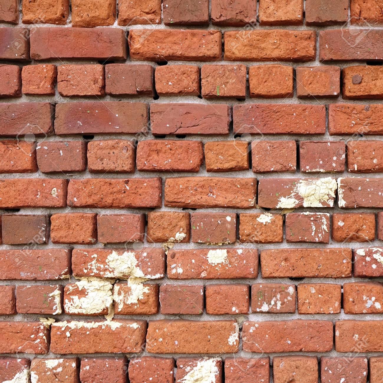 Mur En Brique Rouge texture carrée de vieux mur de brique rouge. fond de cadre de mur de  briques en détresse. surface grungy stonewall. mur d'époque intérieur ou