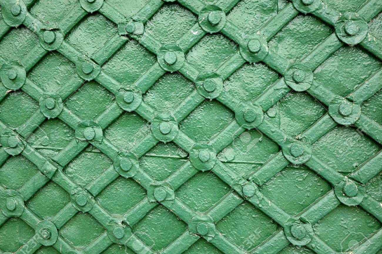 Old Green Metal Gate Or Door With Iron Forged Decorative Grid ...