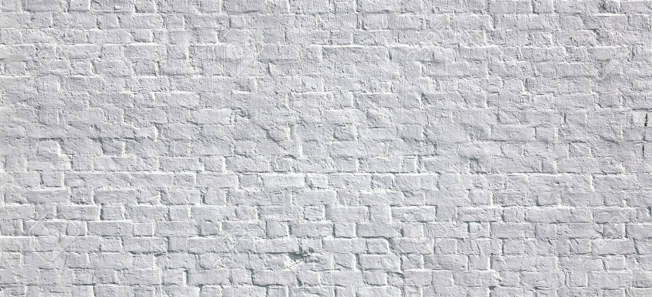 White Rustic Texture Retro Whitewashed Old Brick Wall Surface