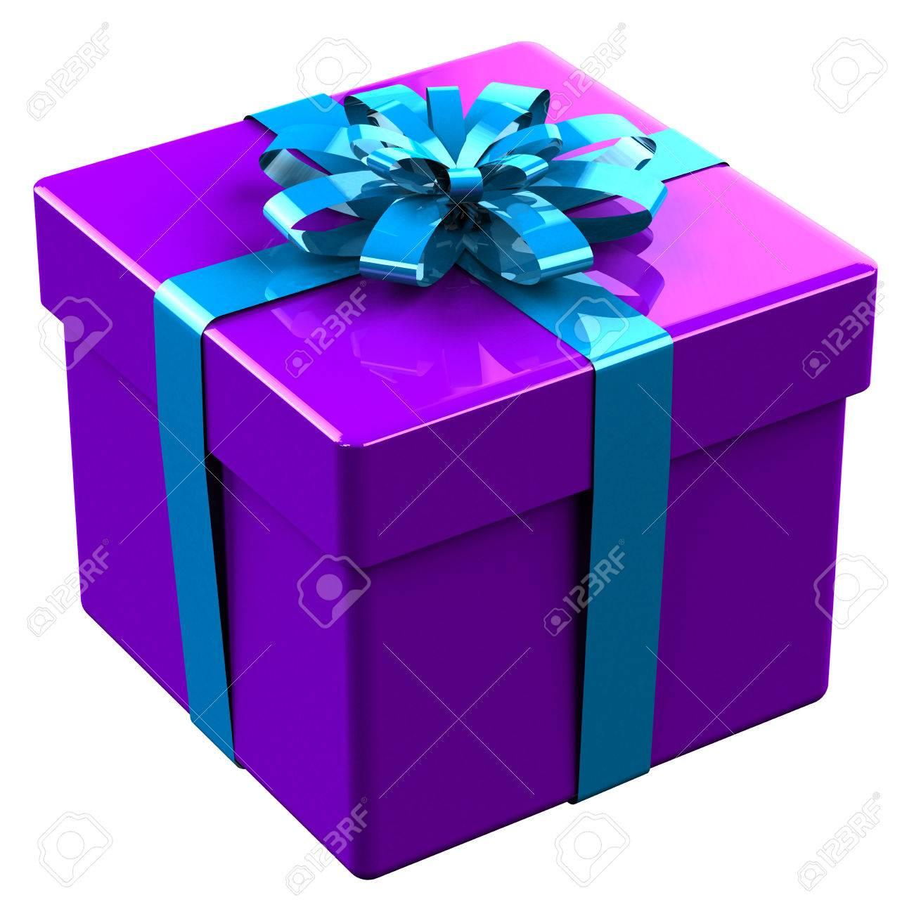 Purple gift box tied blue with a bow isolated on white background. 3D render.  sc 1 st  123RF.com & Purple Gift Box Tied Blue With A Bow Isolated On White Background ...