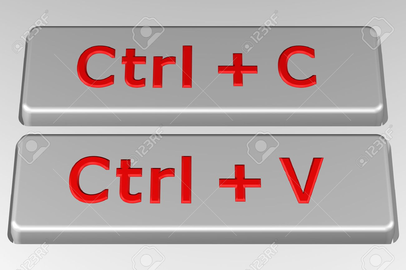 Concept Copy Paste Buttons On The Keyboard 3d Rendering Stock