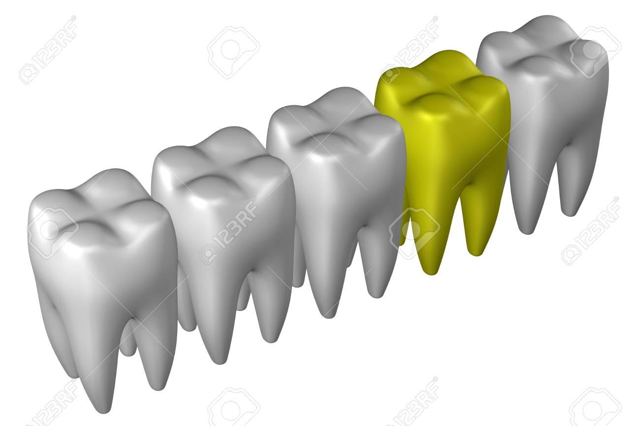 Menschliche Zähne, Isoliert Auf Weißem Hintergrund. 3D-Rendering ...