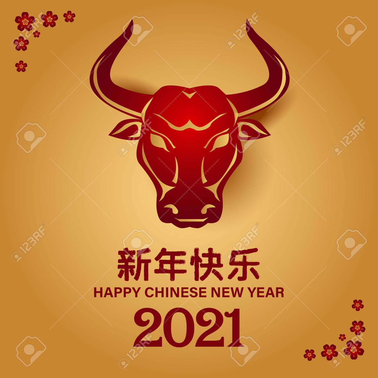 2021 Happy Chinese new year with Ox Zodiac sign. banner, greeting card, flyers, poster. vector illustration - 162465387