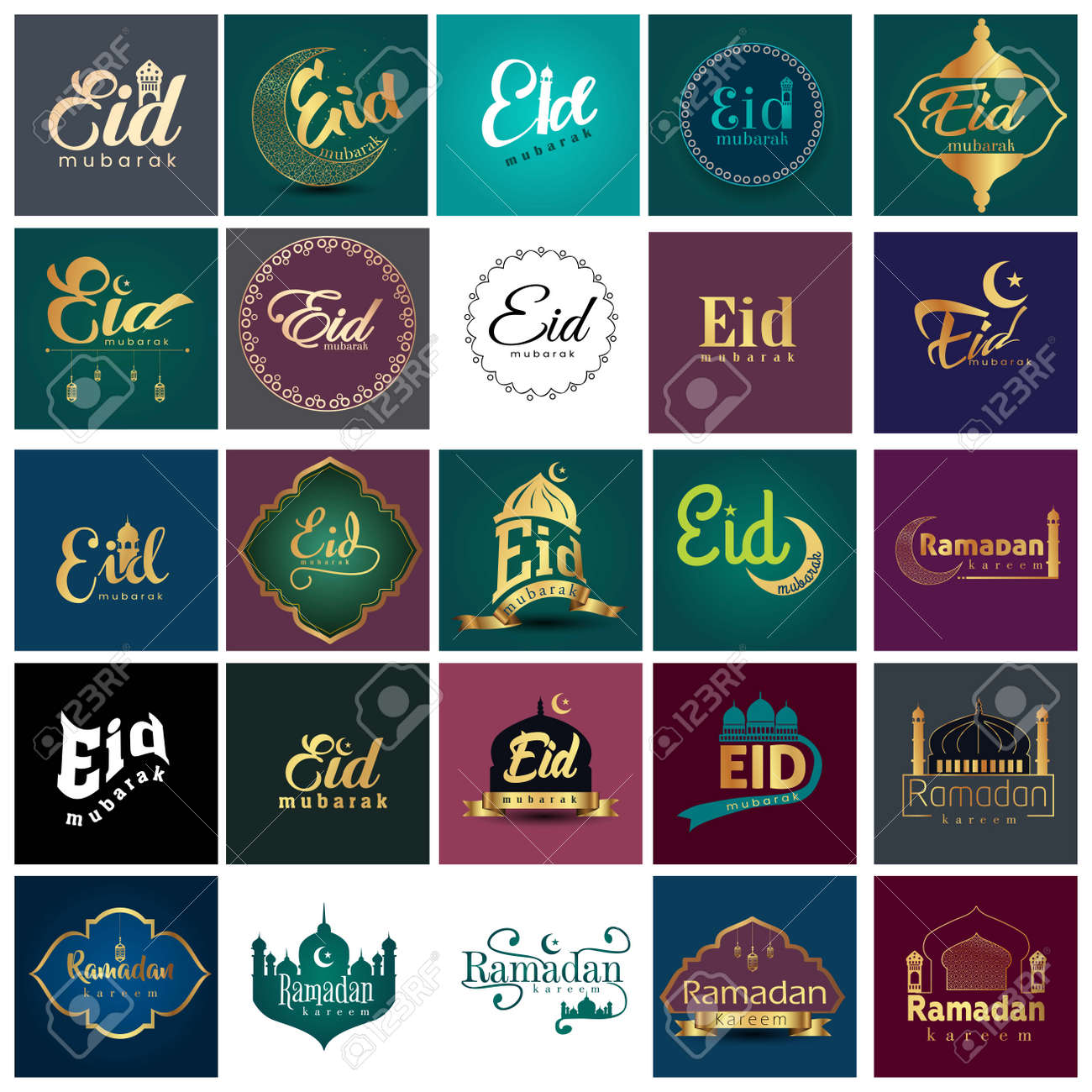 eid mubark and ramadan kareem logo set. vector illustration design - 165718052