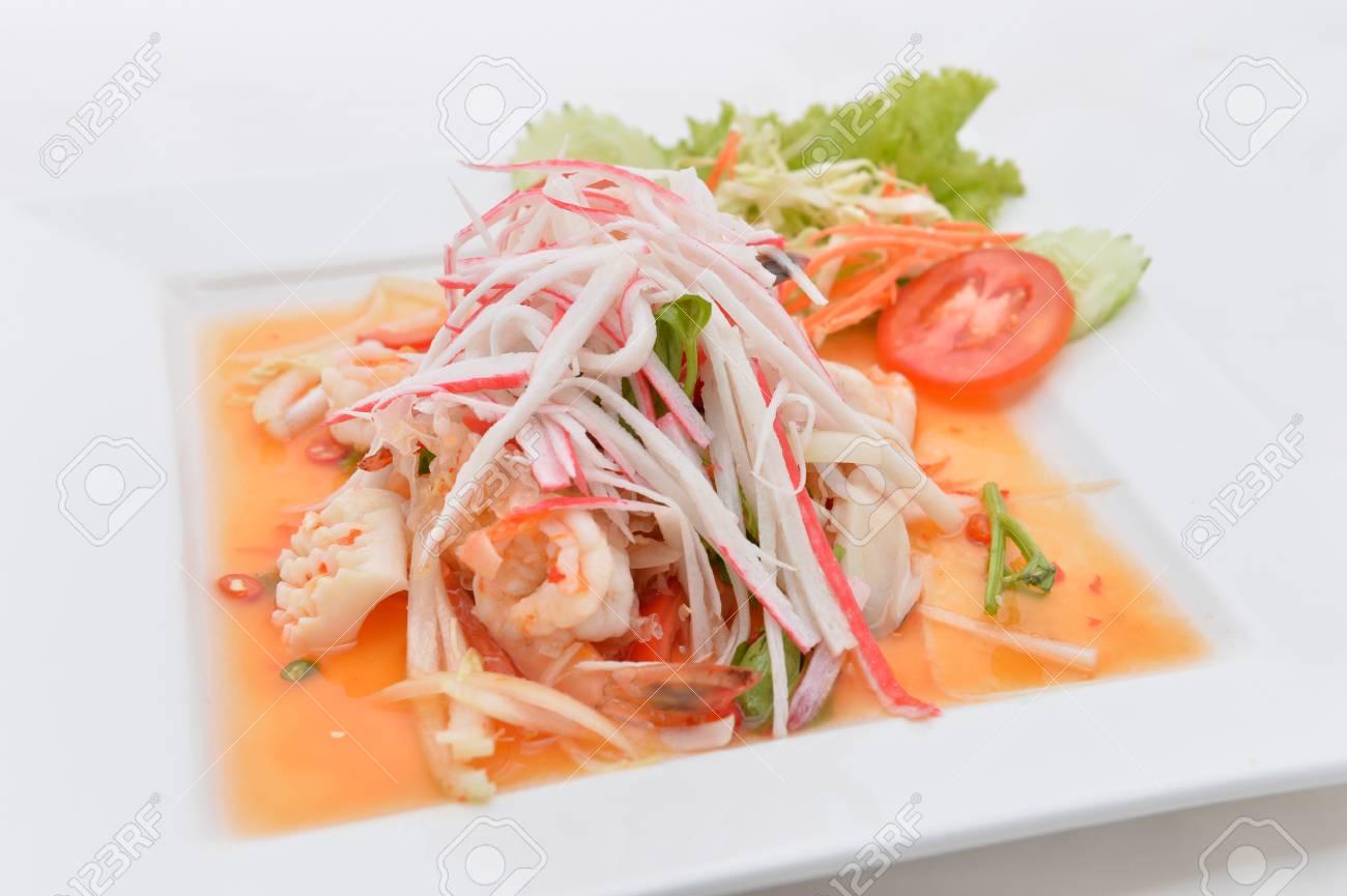 salad Seafood Thai Style in thai restaurant Stock Photo - 24067713