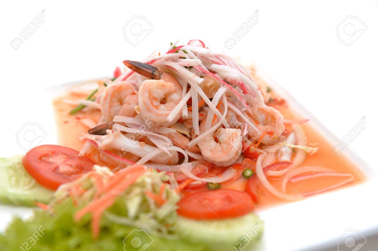 salad Seafood Thai Style in thai restaurant Stock Photo - 24067715