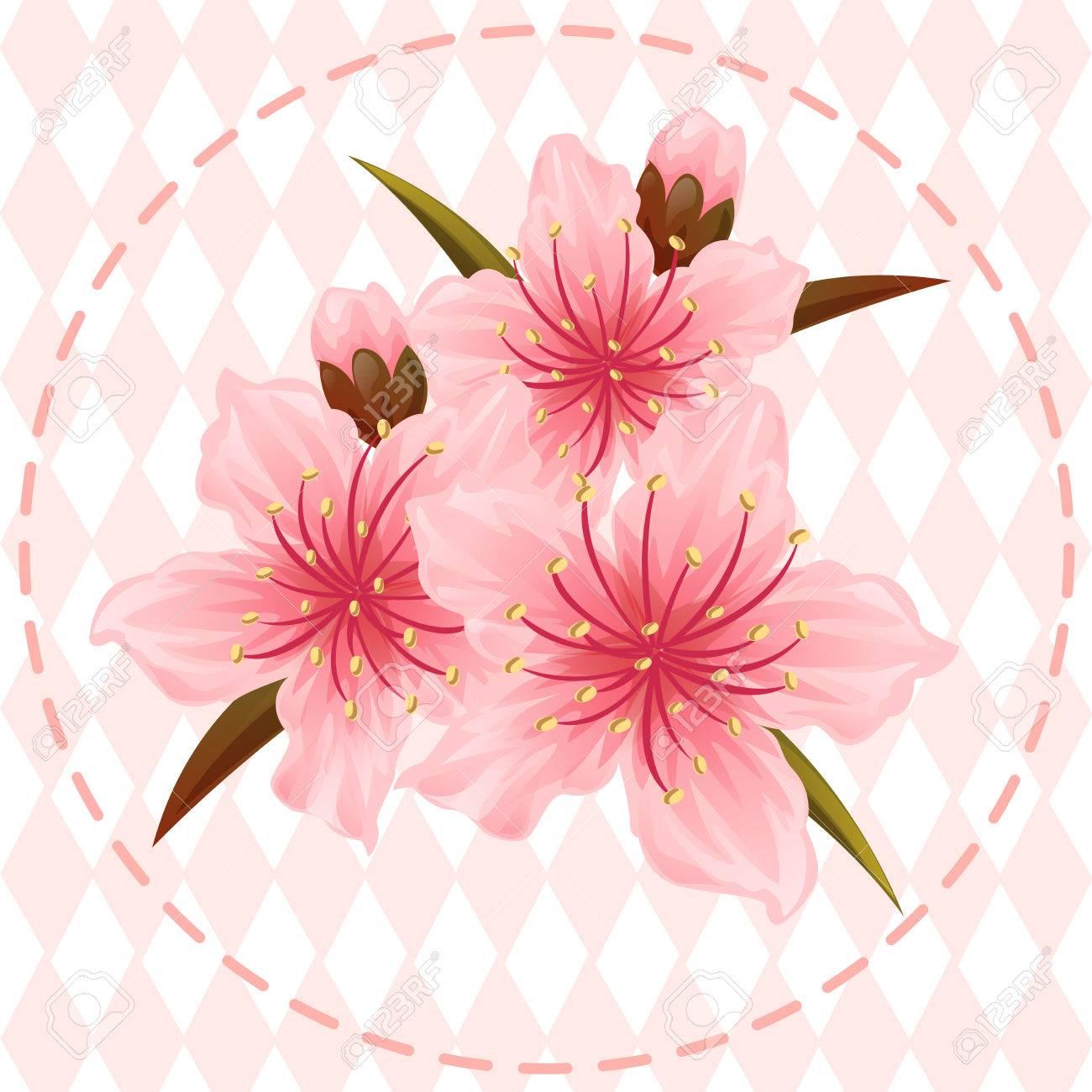 桃の花の花イラストのイラスト素材ベクタ Image 60130838