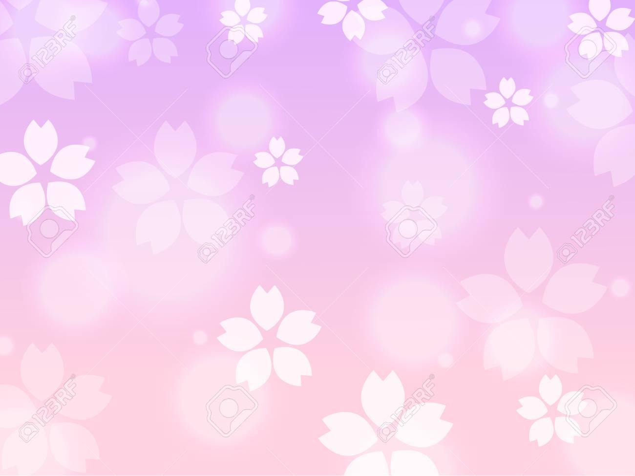 紫ピンクの桜桜春背景イラスト ロイヤリティフリークリップアート