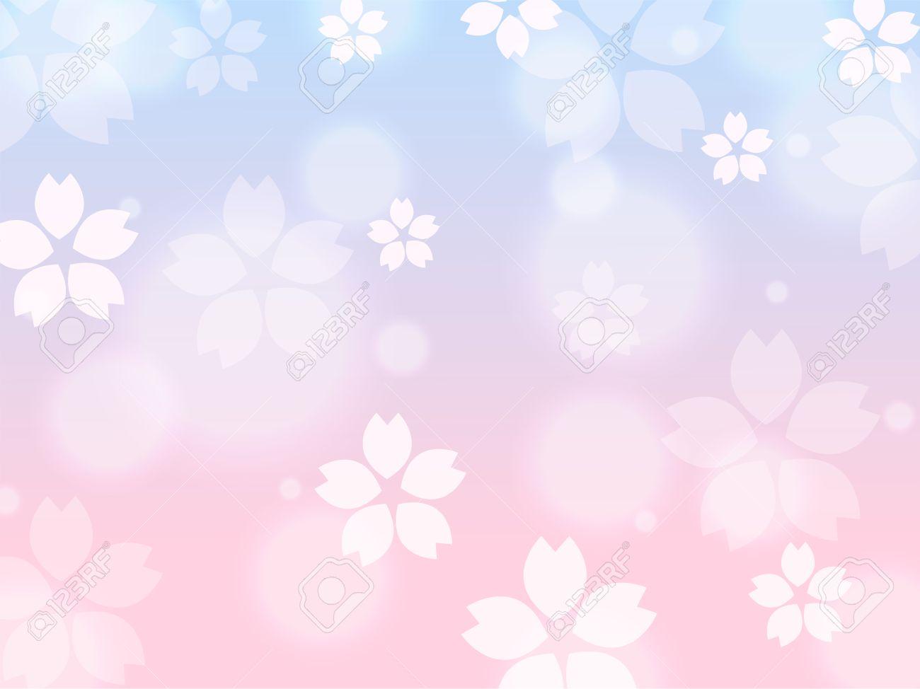 ブルー ピンクさくら桜春背景イラスト ロイヤリティフリークリップアート