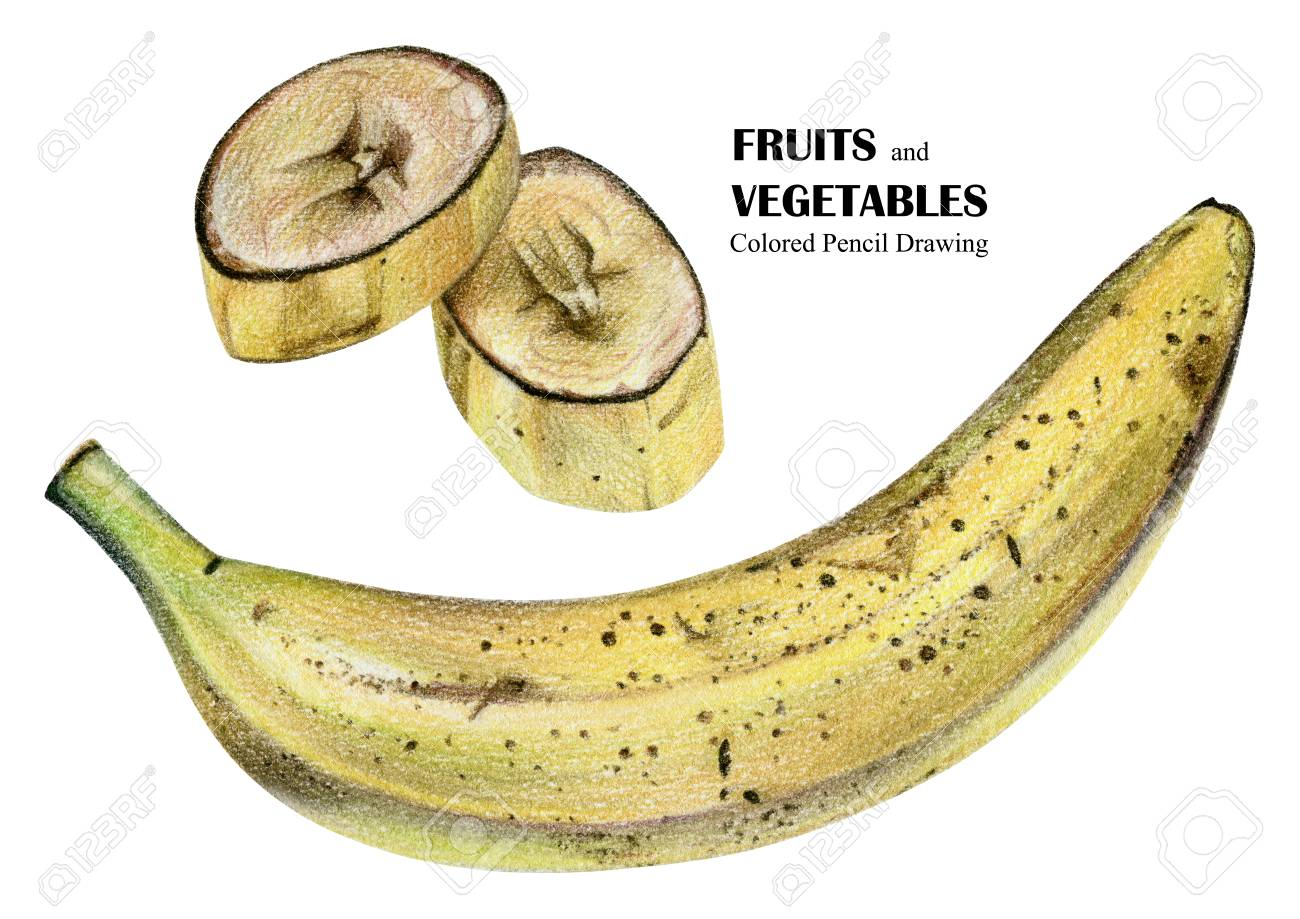 Illustration With Banana Drawn By Hand With Colored Pencil Drawing Stock Photo Picture And Royalty Free Image Image 83315580