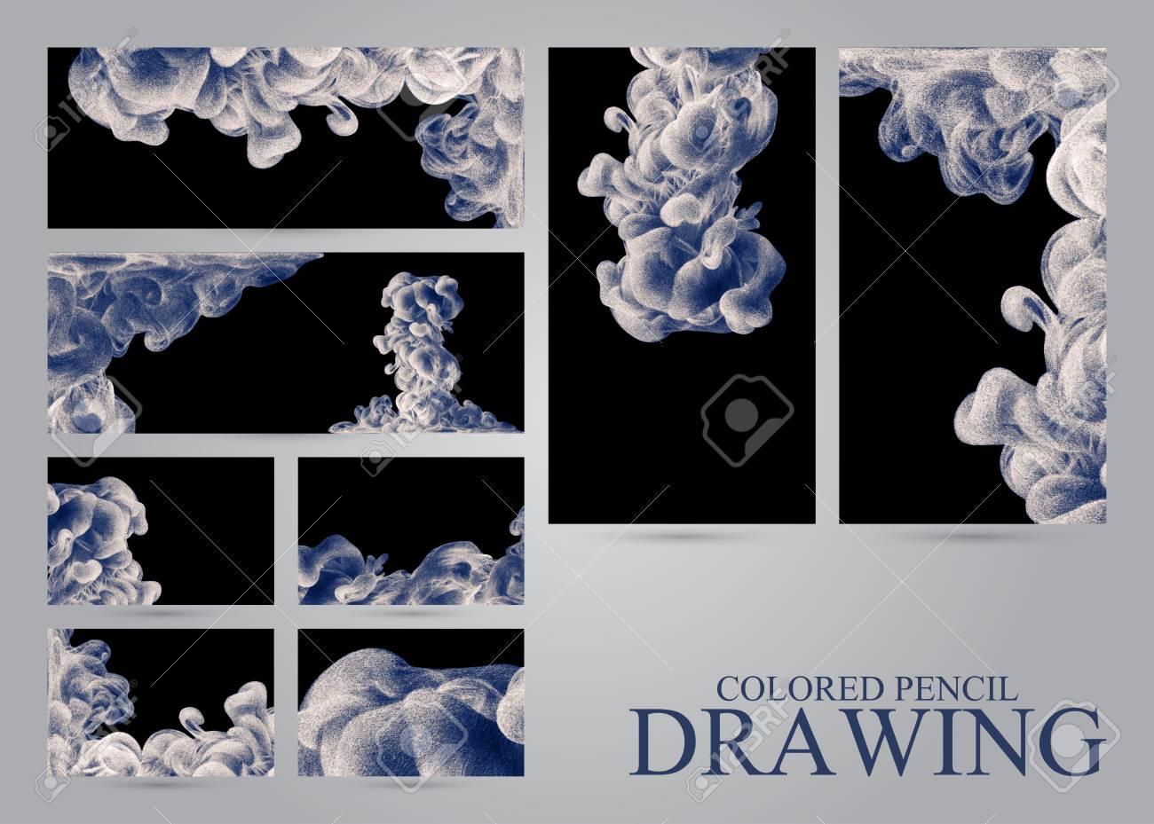 Ensemble De Bannires Et Cartes Visite Avec Des Nuages Dencre Abstraits Dessins La Main Crayons Couleur Aquarelle Dans Leau Holi