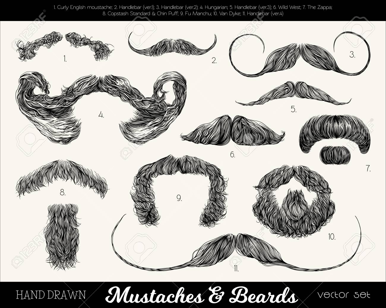 Remarkable Vector Set With Mustaches And Beards Hand Drawn Illustration Natural Hairstyles Runnerswayorg