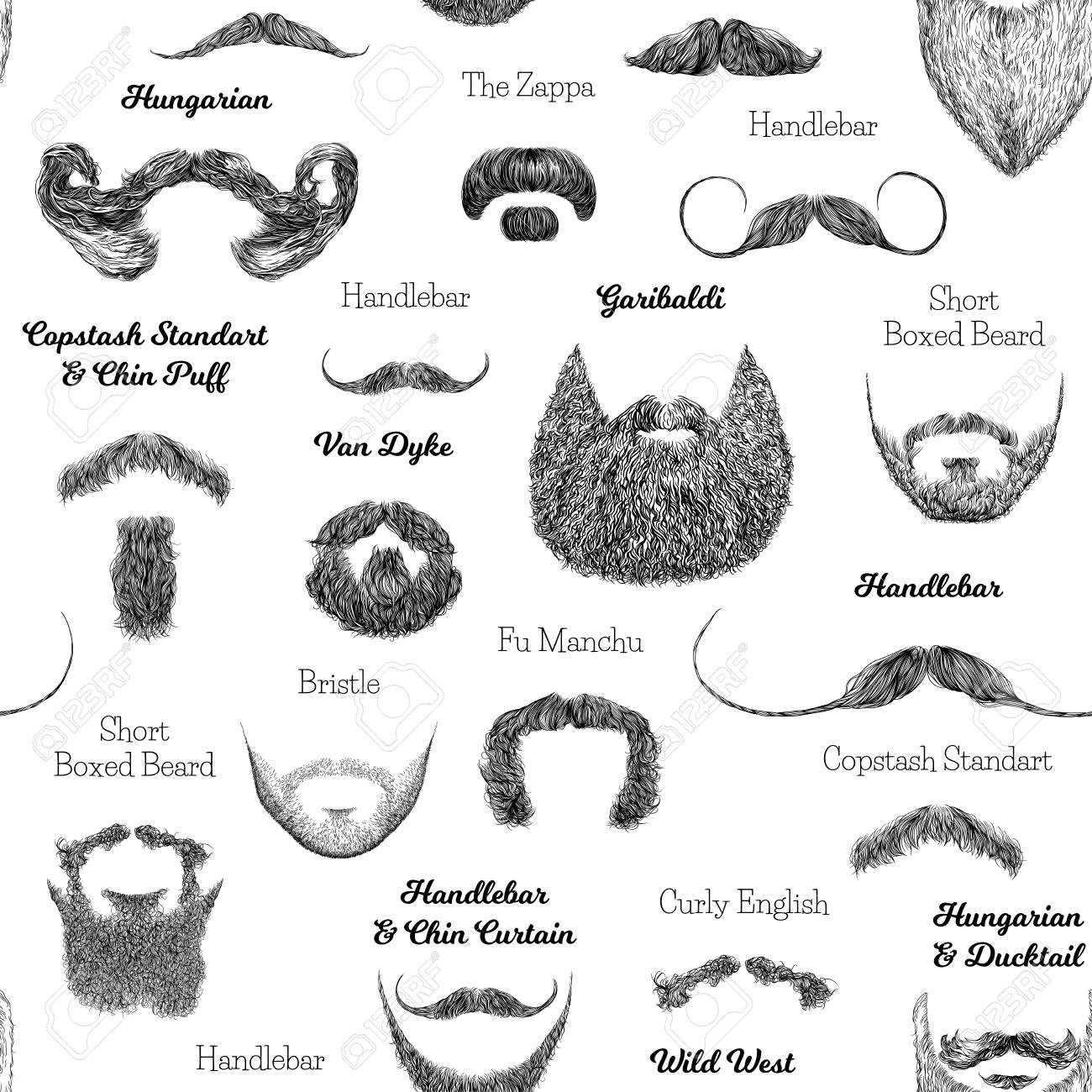 Vector Seamless Pattern With Beards And Mustaches Hand Drawn