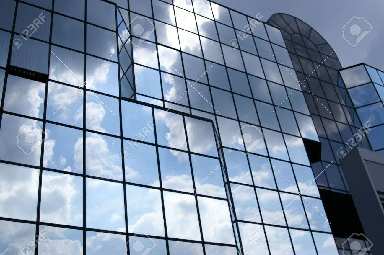 Glass Building Front Cloudy Sky Bank Square Stock Photo