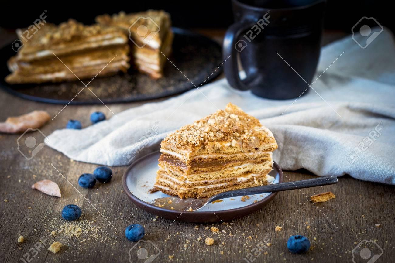 Stuck Hausgemachten Medovik Geschichteten Honigkuchen Traditionelle