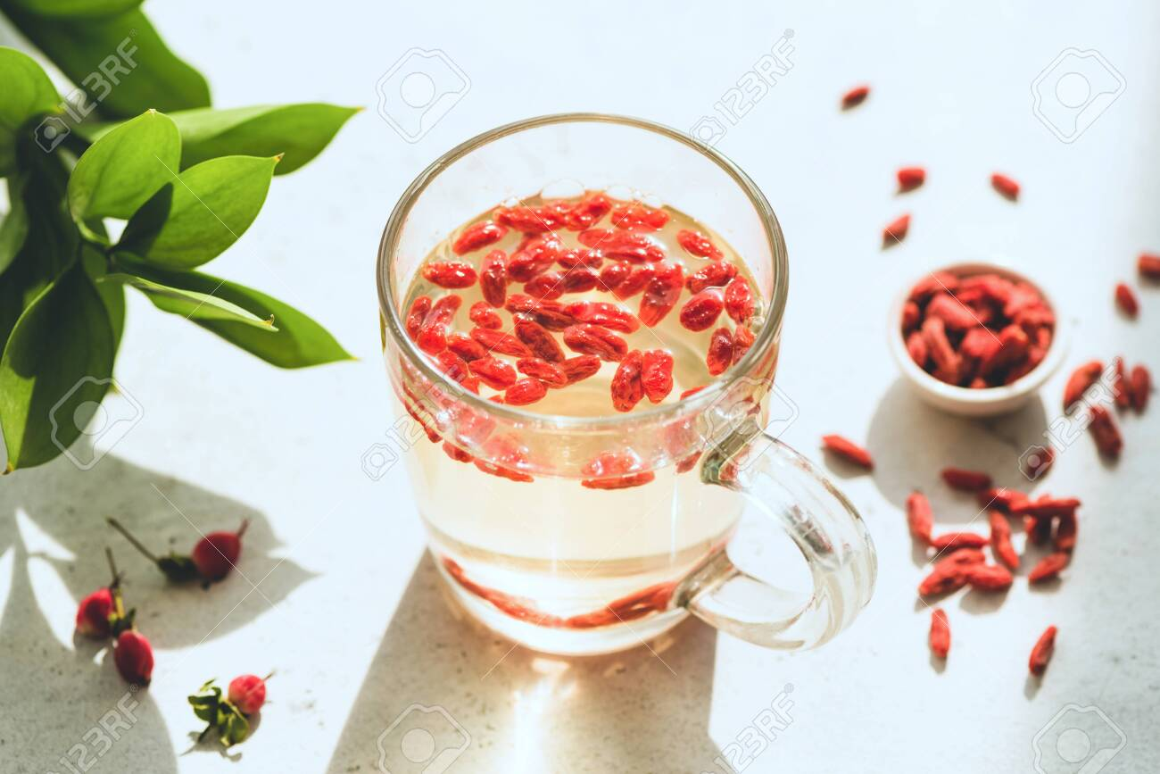 Goji Berry Infused Tea In Glass Cup Weight Loss Slimming Drink